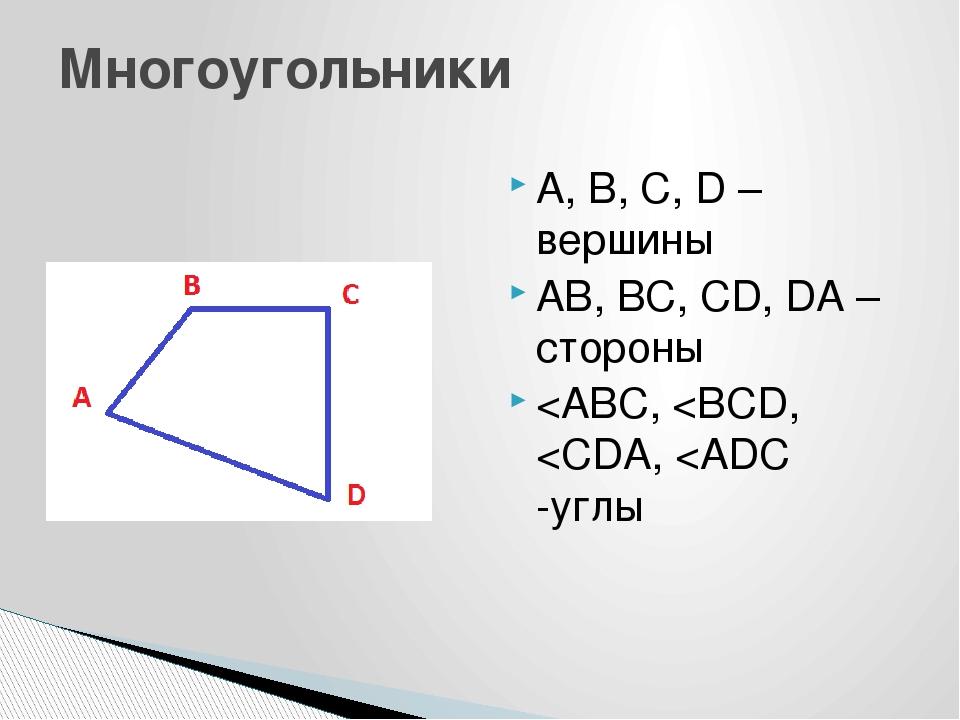 А, В, С, D – вершины AB, BC, CD, DA –стороны