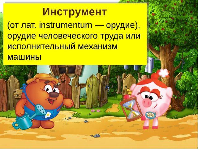 Инструмент (от лат. instrumentum — орудие), орудие человеческого труда или ис...