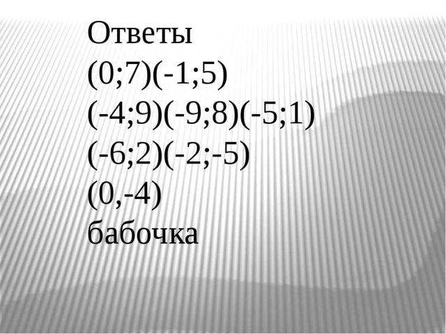 Ответы (0;7)(-1;5) (-4;9)(-9;8)(-5;1) (-6;2)(-2;-5) (0,-4) бабочка