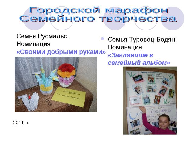 Семья Туровец-Бодян Номинация «Загляните в семейный альбом» Семья Русмальс....