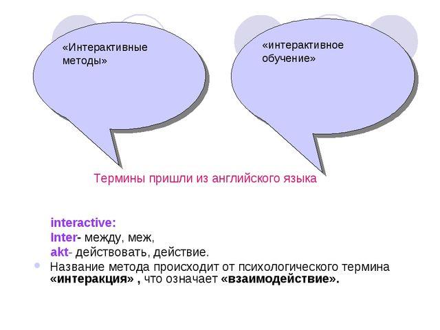 Термины пришли из английского языка interactive: Inter- между, меж, akt- дей...