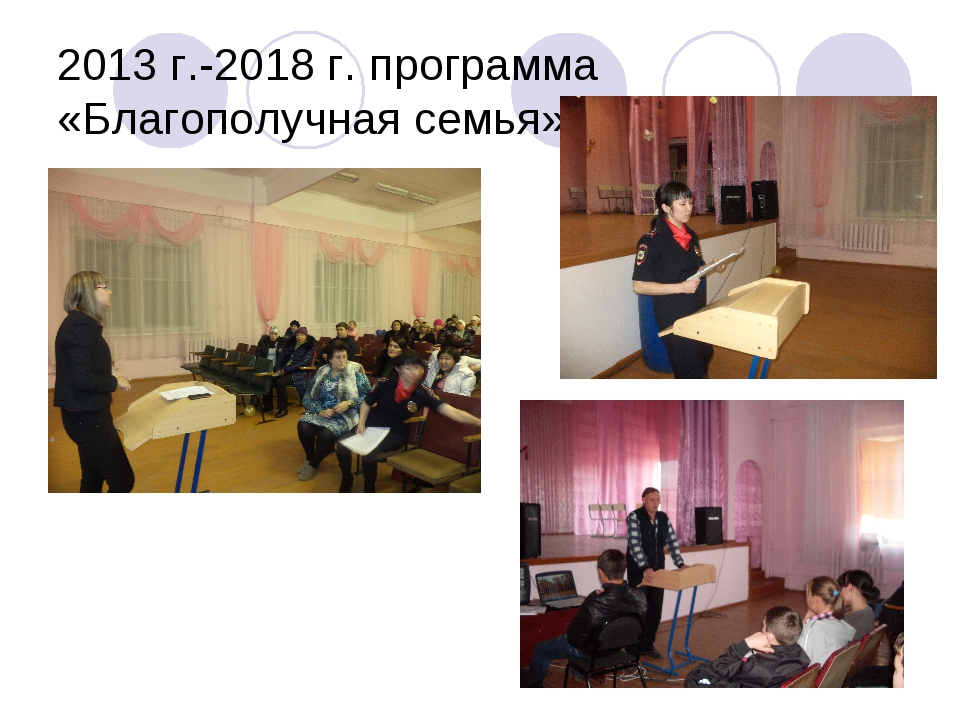 2013 г.-2018 г. программа «Благополучная семья».