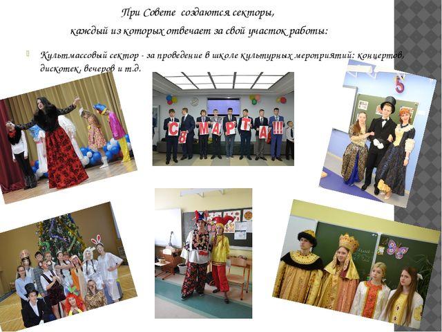 Культмассовый сектор - за проведение в школе культурных мероприятий: концерт...