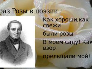 Образ Розы в поэзии Как хороши,как свежи были розы В моем саду! Как взор прел