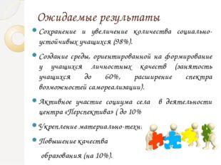 Ожидаемые результаты Сохранение и увеличение количества социально-устойчивых
