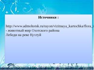 Источники : http://www.admohotsk.ru/rayon/vizitnaya_kartochka/flora_i_fauna/-