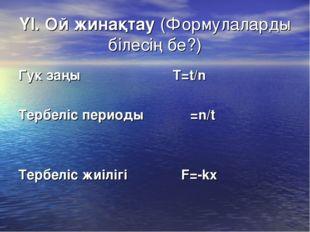 ҮІ. Ой жинақтау (Формулаларды білесің бе?) Гук заңы T=t/n Тербеліс периоды ν=