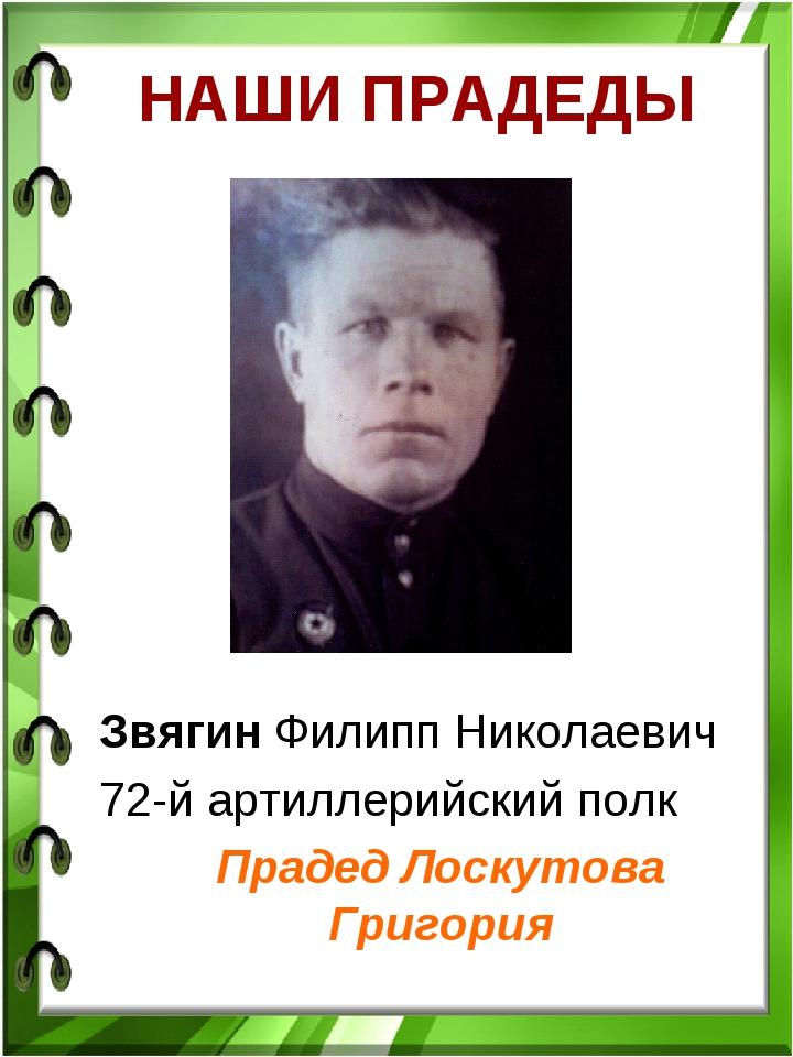 НАШИ ПРАДЕДЫ Звягин Филипп Николаевич 72-й артиллерийский полк Прадед Лоскуто...