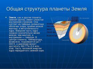 Общая структура планеты Земля Земля, как и другие планеты земной группы, имее
