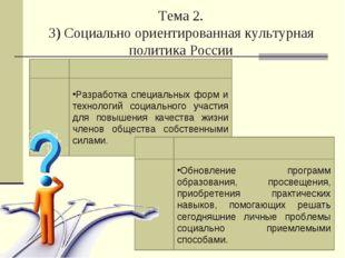 Тема 2. 3) Социально ориентированная культурная политика России Разработка сп