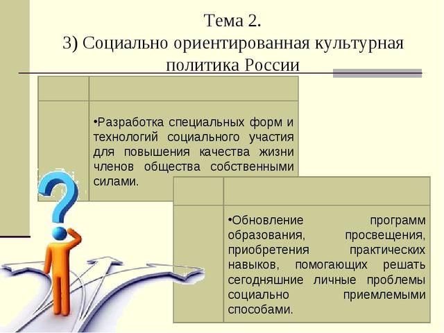 Тема 2. 3) Социально ориентированная культурная политика России Разработка сп...