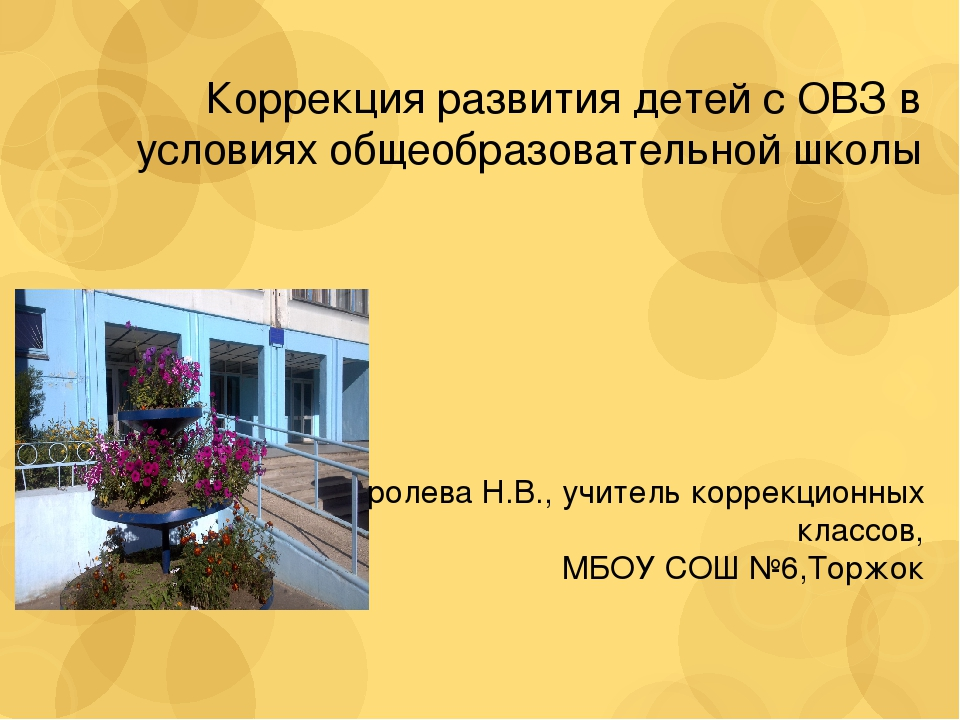 Коррекция развития детей с ОВЗ в условиях общеобразовательной школы Королева...