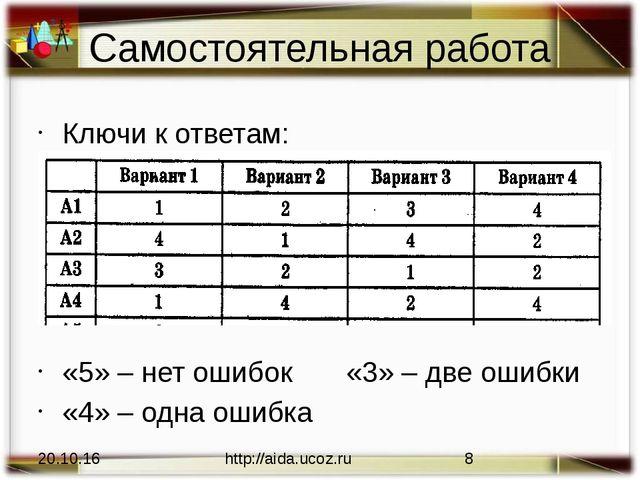 Самостоятельная работа Ключи к ответам: «5» – нет ошибок«3» – две ошибки «4...