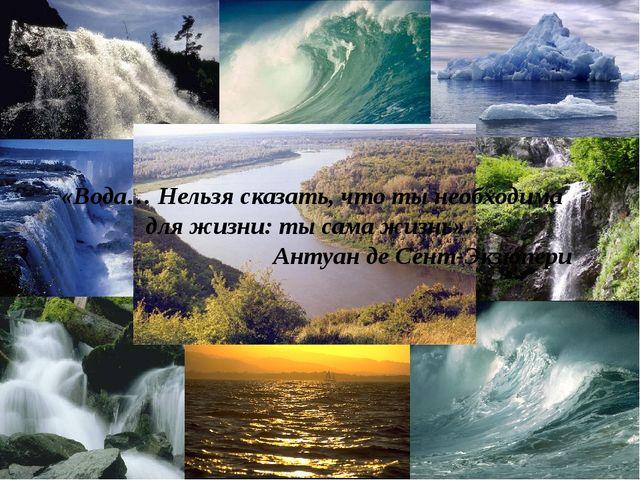 «Вода… Нельзя сказать, что ты необходима для жизни: ты сама жизнь». Антуан де...