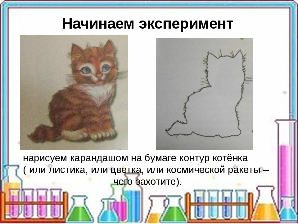 нарисуем карандашом на бумаге контур котёнка ( или листика, или цветка, или...