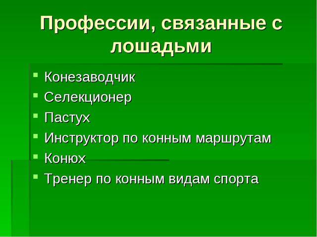 Профессии, связанные с лошадьми Конезаводчик Селекционер Пастух Инструктор по...