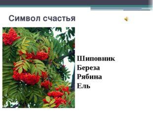 Символ счастья Шиповник Береза Рябина Ель Вопрос 4 Символ счастья В России эт