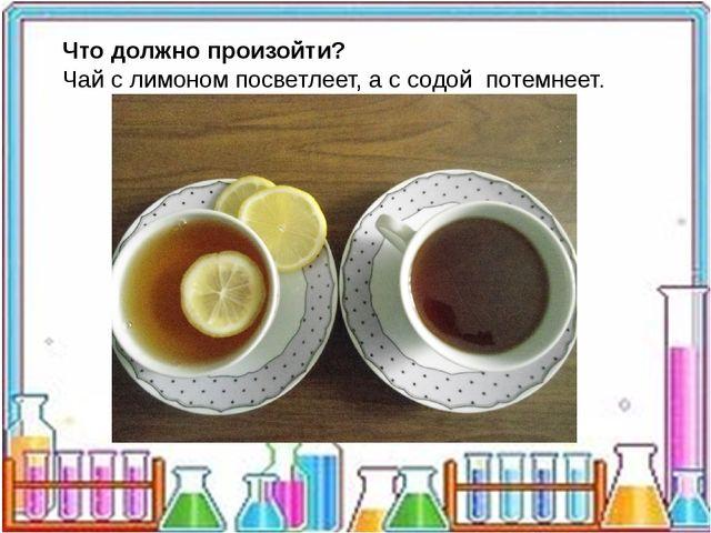 Что должно произойти? Чай с лимоном посветлеет, а с содой потемнеет.