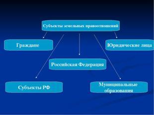 Субъекты земельных правоотношений Граждане Юридические лица Российская Федера