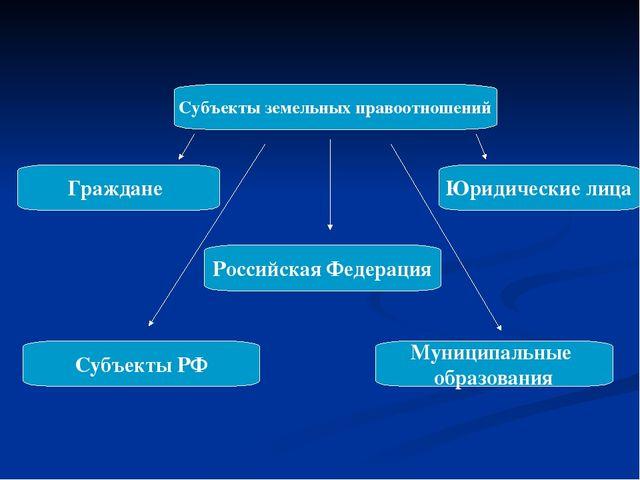Субъекты земельных правоотношений Граждане Юридические лица Российская Федера...
