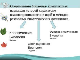 Современная биология- комплексная наука,для которой характерно взаимопроникно