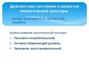 Авторы технологии Е.Ю. Ногтева, И.Д. Лушников Уровни развития экологической к