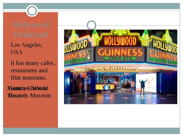 Hollywood Boulevard Los Angeles, USA It has many cafes, restaurants and film...