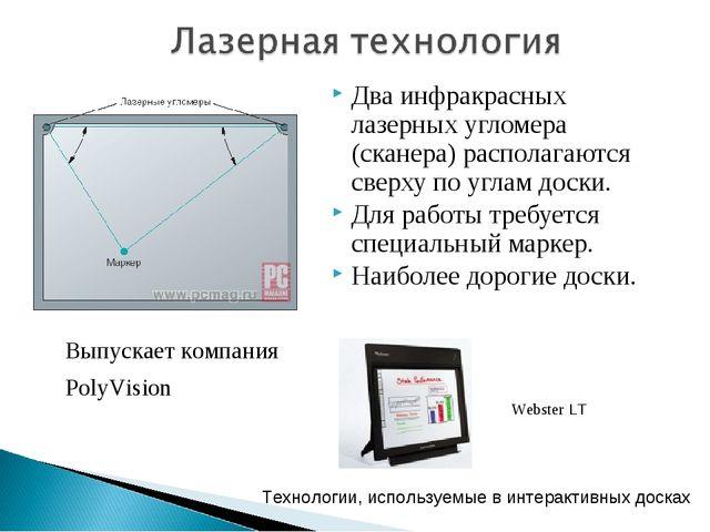 Два инфракрасных лазерных угломера (сканера) располагаются сверху по углам д...