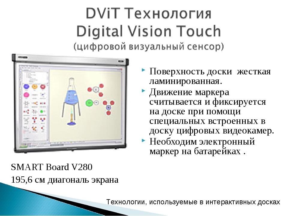 SMART Board V280 195,6 см диагональ экрана Технологии, используемые в интерак...