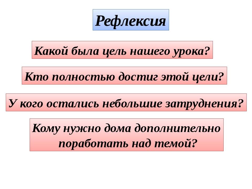 Рефлексия Какой была цель нашего урока? Кто полностью достиг этой цели? У ког...
