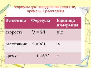 Формулы для определения скорости, времени и расстояния ВеличинаФормулаЕдини