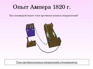 Опыт Ампера 1820 г. Как взаимодействуют токи противоположных направлений? Ток