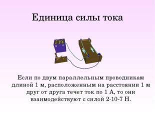 Единица силы тока Если по двум параллельным проводникам длиной 1 м, расположе