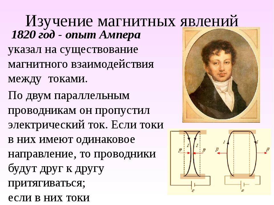 Изучение магнитных явлений 1820 год - опыт Ампера указал на существование маг...