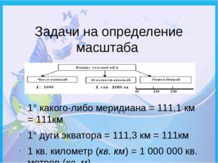Задачи на определение масштаба 1° какого-либо меридиана = 111,1 км = 111км 1°