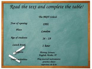 Read the text and complete the table! 1991 London 14 - 19 1 hour History, Sci