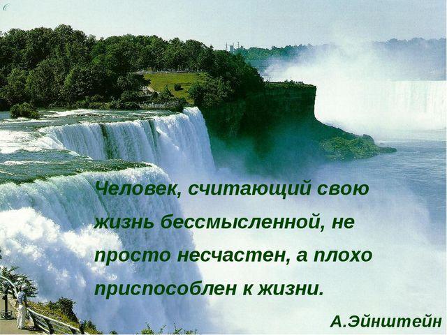 Человек, считающий свою жизнь бессмысленной, не просто несчастен, а плохо при...