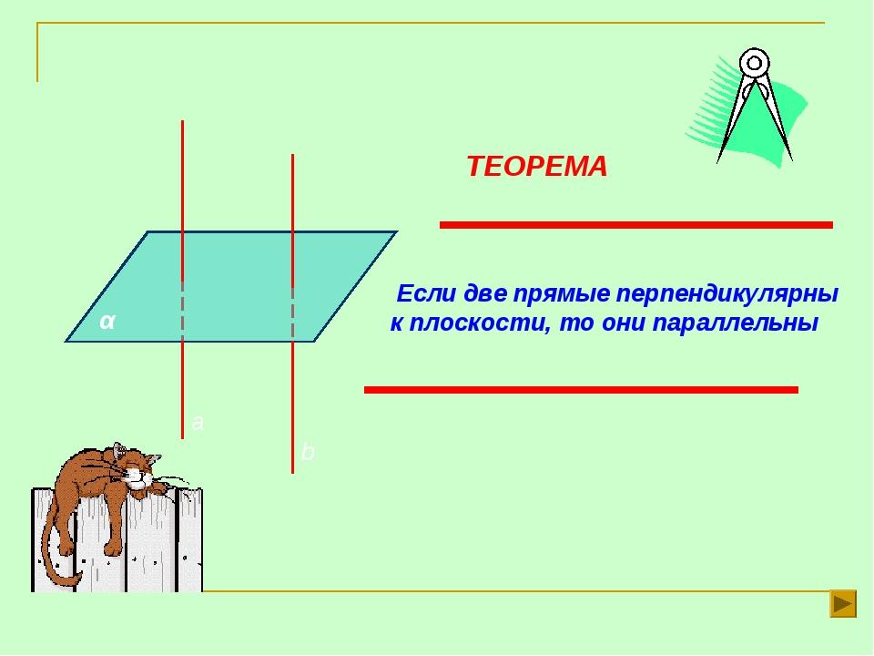 α а b ТЕОРЕМА Если две прямые перпендикулярны к плоскости, то они параллельны