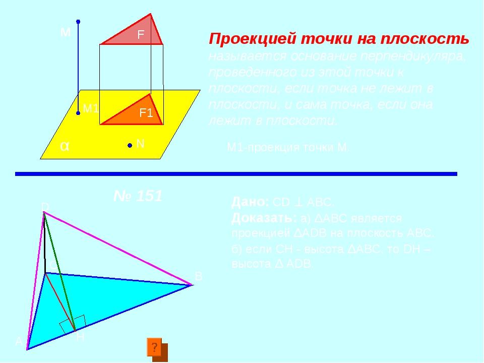 F α м М1 F1 N Проекцией точки на плоскость называется основание перпендикуляр...