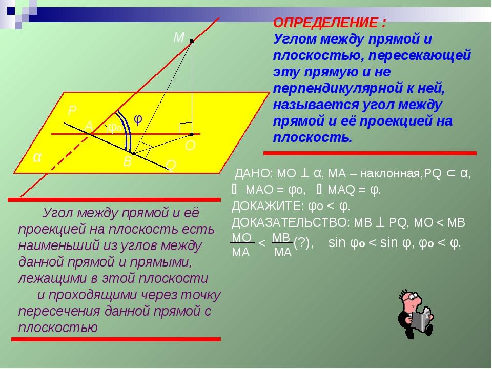α А М φ φо ОПРЕДЕЛЕНИЕ : Углом между прямой и плоскостью, пересекающей эту пр...