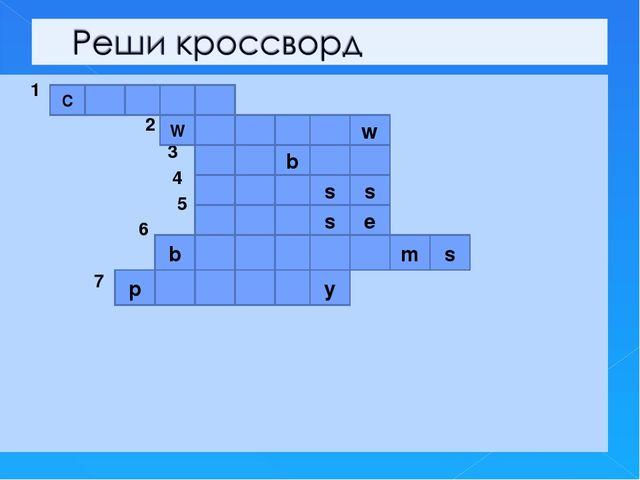 1 2 3 4 5 6 7 С W w b s s s e b m s p y