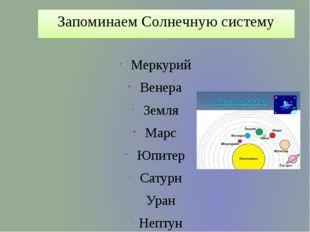 Запоминаем Солнечную систему Меркурий Венера Земля Марс Юпитер Сатурн Уран Не