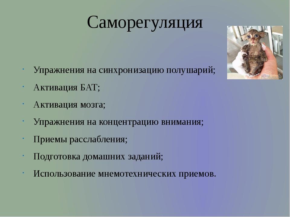 Саморегуляция Упражнения на синхронизацию полушарий; Активация БАТ; Активация...