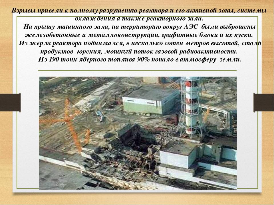 Взрывы привели к полному разрушению реактора и его активной зоны, системы ох...