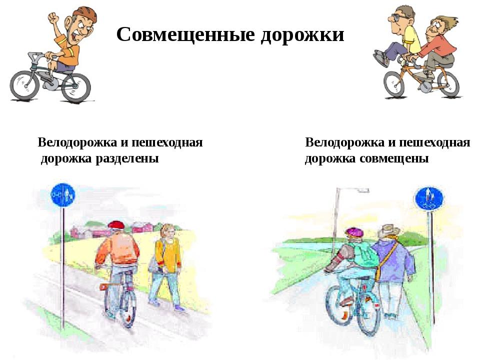 Совмещенные дорожки Велодорожка и пешеходная дорожка разделены Велодорожка и...