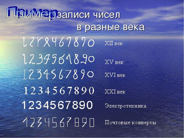 записи чисел в разные века