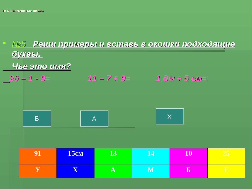 10 б Знаменитые имена №5 Реши примеры и вставь в окошки подходящие буквы. Чье...