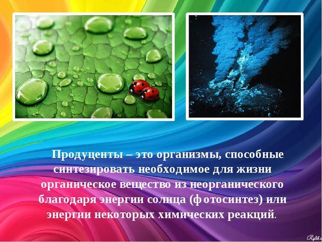 Продуценты – это организмы, способные синтезировать необходимое для жизни орг...