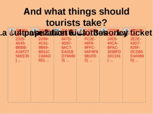 And what things should tourists take?