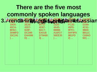 There are the five most commonly spoken languages in the world.